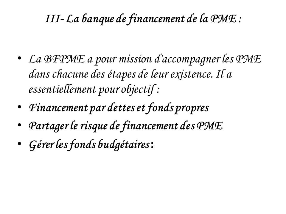 III- La banque de financement de la PME :