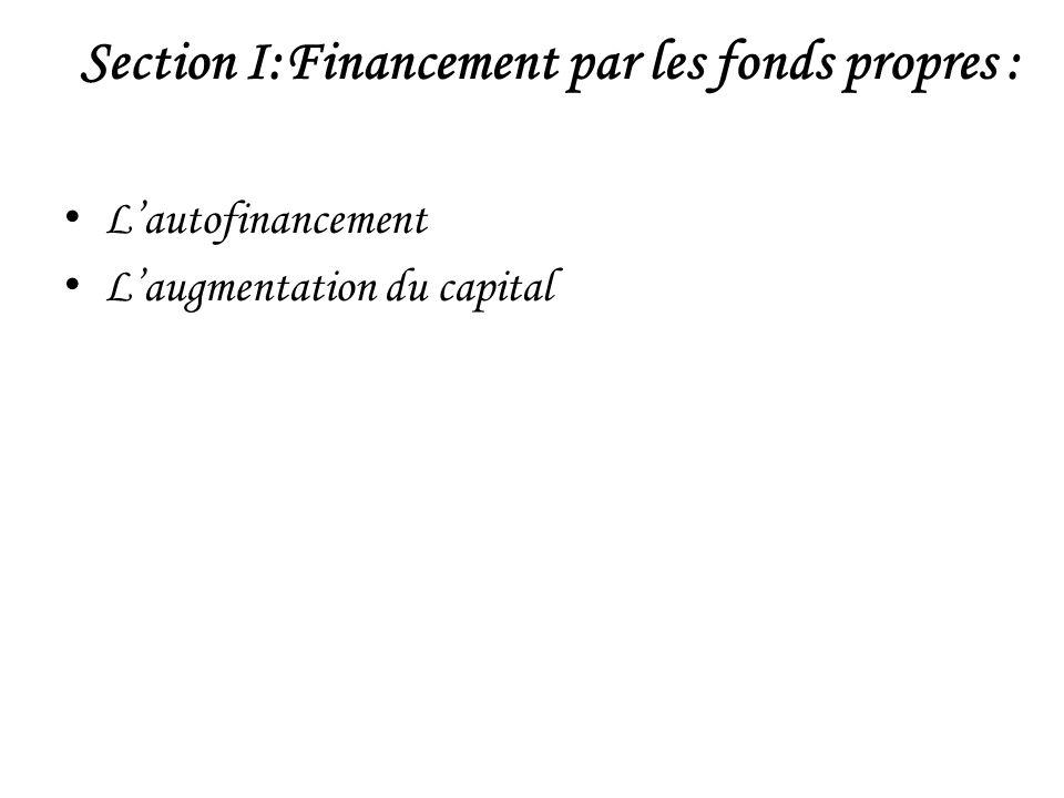 Section I:Financement par les fonds propres :
