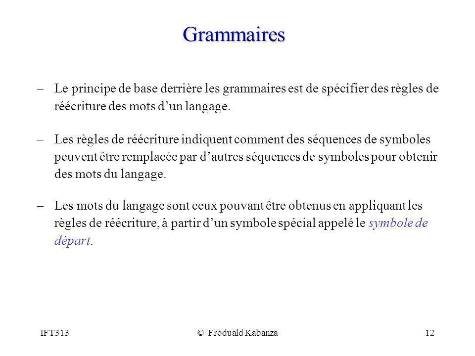 Grammaires Le principe de base derrière les grammaires est de spécifier des règles de réécriture des mots d'un langage.