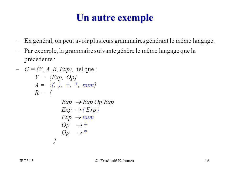 Un autre exemple En général, on peut avoir plusieurs grammaires générant le même langage.