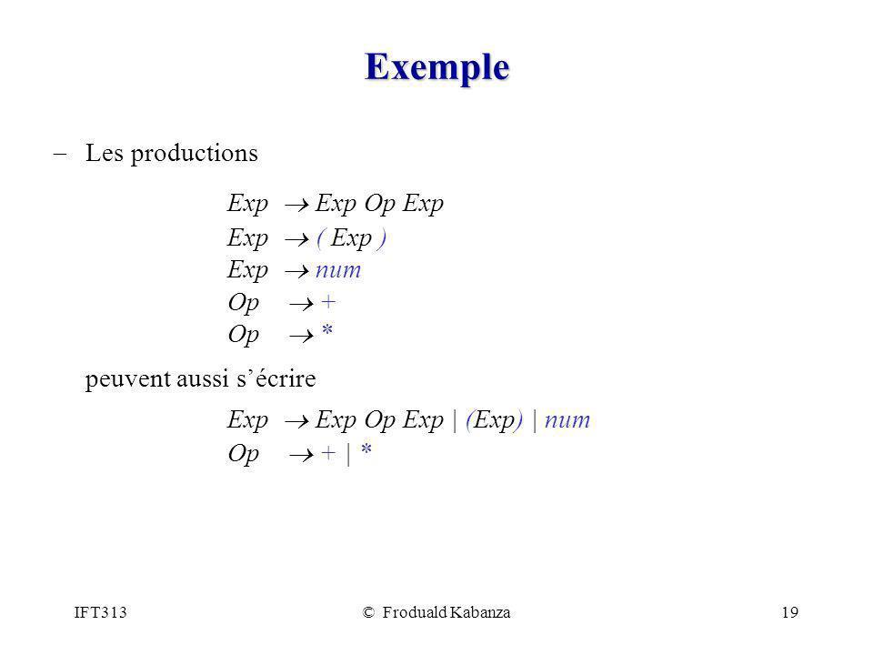 Exemple Exp ® Exp Op Exp peuvent aussi s'écrire