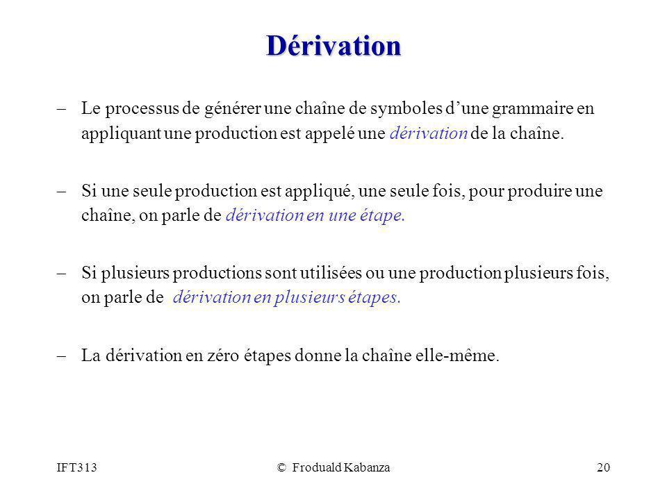 Dérivation Le processus de générer une chaîne de symboles d'une grammaire en appliquant une production est appelé une dérivation de la chaîne.