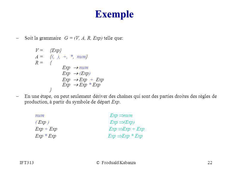Exemple Soit la grammaire G = (V, A, R, Exp) telle que: V = {Exp}