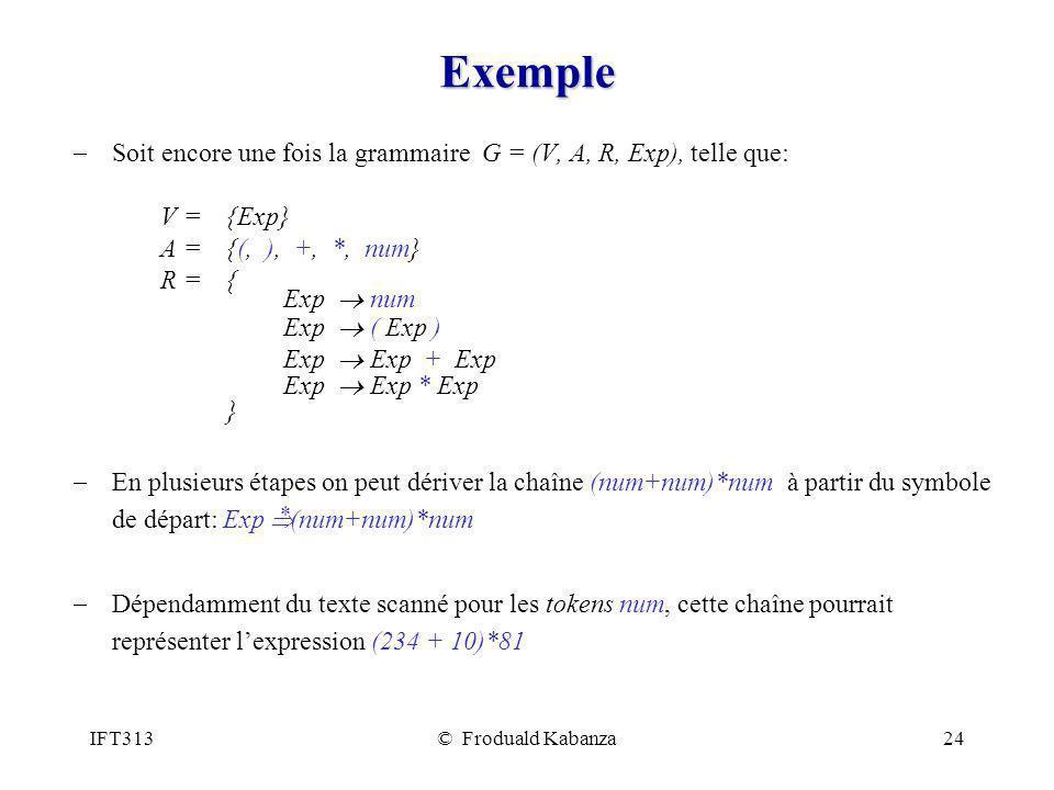 Exemple Soit encore une fois la grammaire G = (V, A, R, Exp), telle que: V = {Exp} A = {(, ), +, *, num}