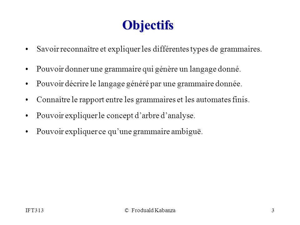 Objectifs Savoir reconnaître et expliquer les différentes types de grammaires. Pouvoir donner une grammaire qui génère un langage donné.
