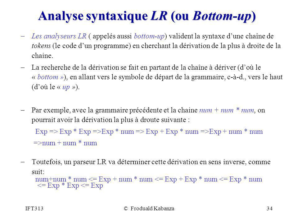 Analyse syntaxique LR (ou Bottom-up)