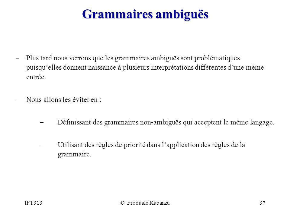 Grammaires ambiguës