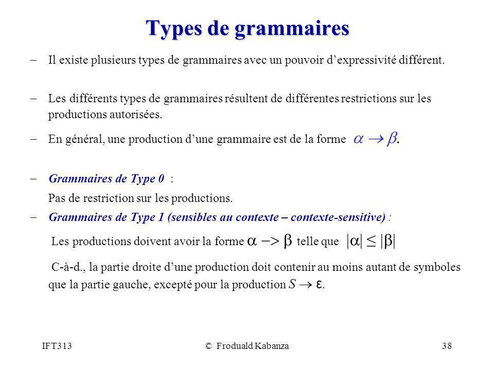 Types de grammaires Il existe plusieurs types de grammaires avec un pouvoir d'expressivité différent.