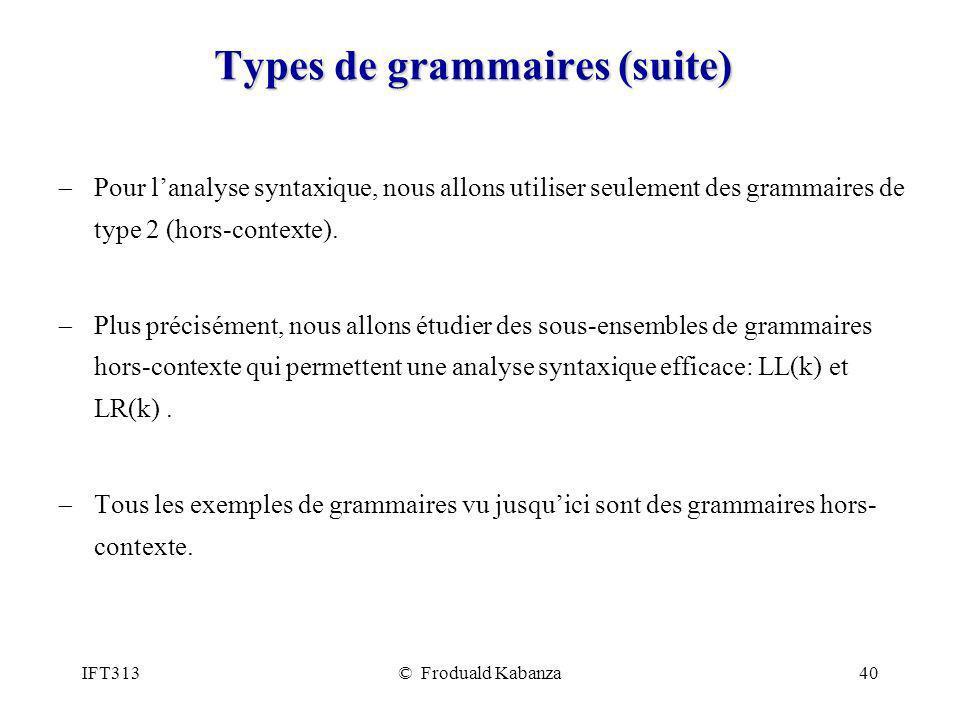 Types de grammaires (suite)