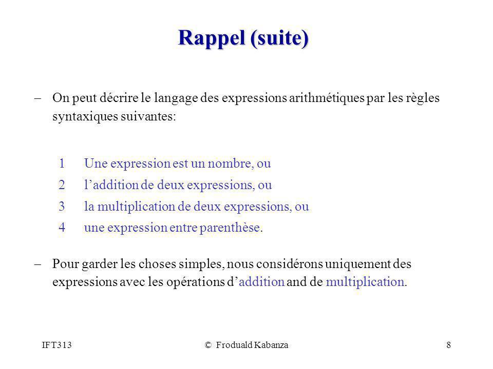 Rappel (suite) On peut décrire le langage des expressions arithmétiques par les règles syntaxiques suivantes: