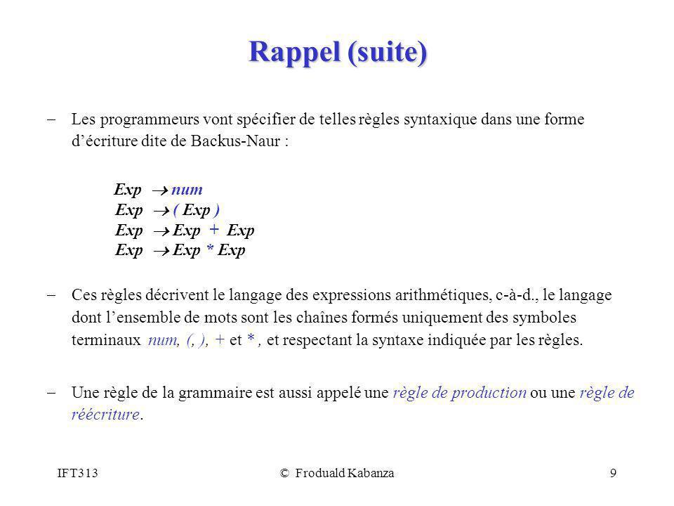 Rappel (suite) Les programmeurs vont spécifier de telles règles syntaxique dans une forme d'écriture dite de Backus-Naur :