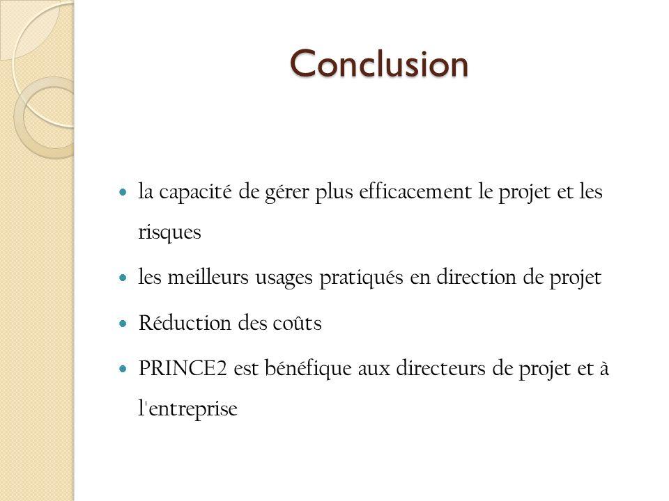 Conclusion la capacité de gérer plus efficacement le projet et les risques. les meilleurs usages pratiqués en direction de projet.