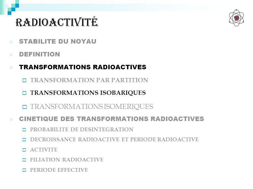 radioactivité TRANSFORMATIONS ISOMERIQUES STABILITE DU NOYAU