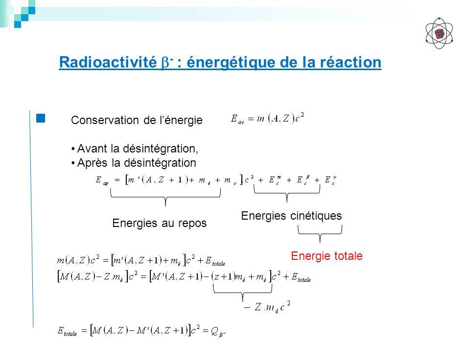 Radioactivité - : énergétique de la réaction