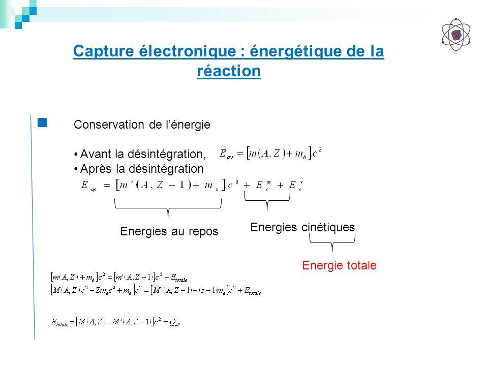Capture électronique : énergétique de la réaction