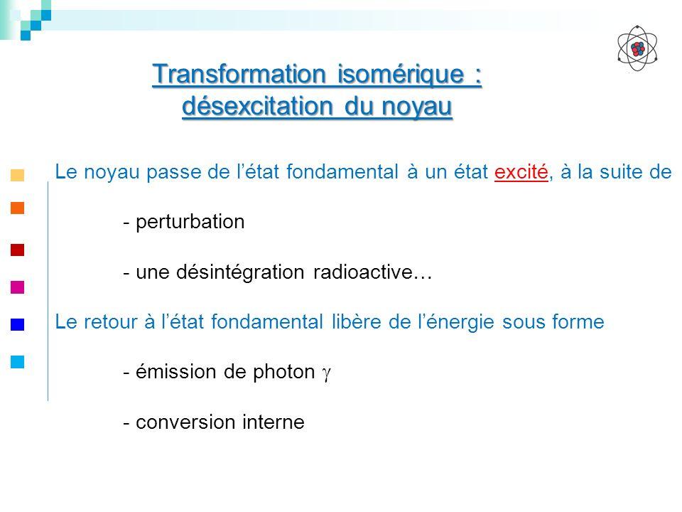 Transformation isomérique : désexcitation du noyau