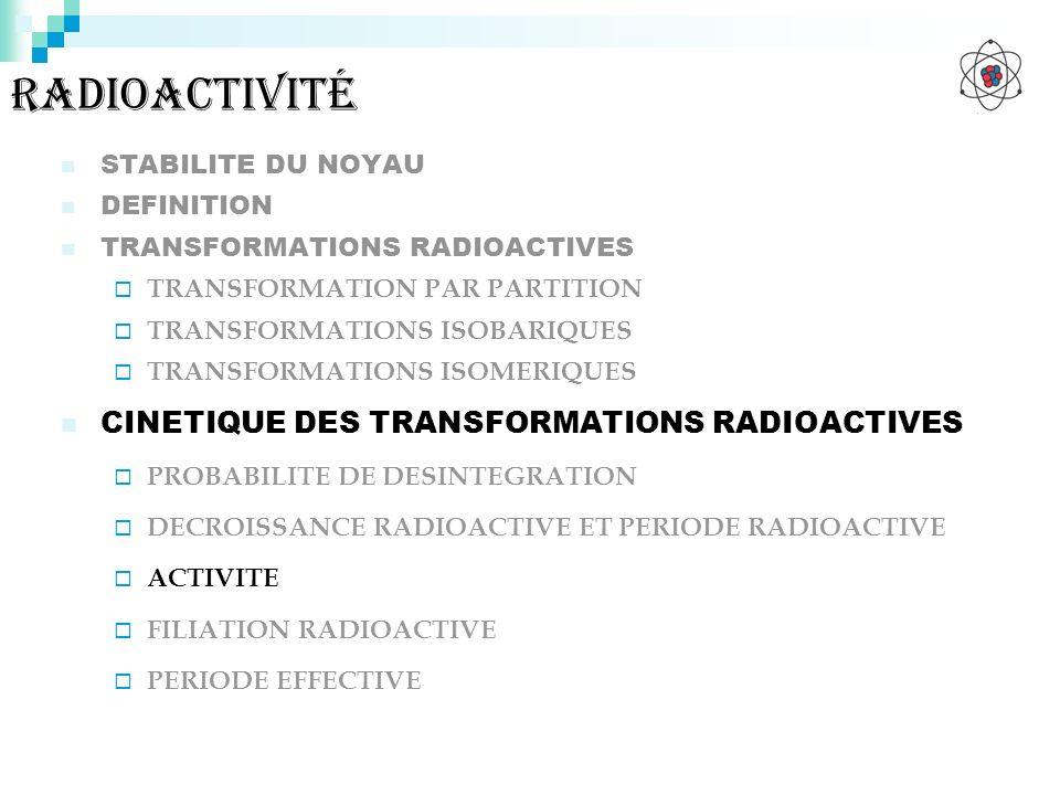 radioactivité CINETIQUE DES TRANSFORMATIONS RADIOACTIVES