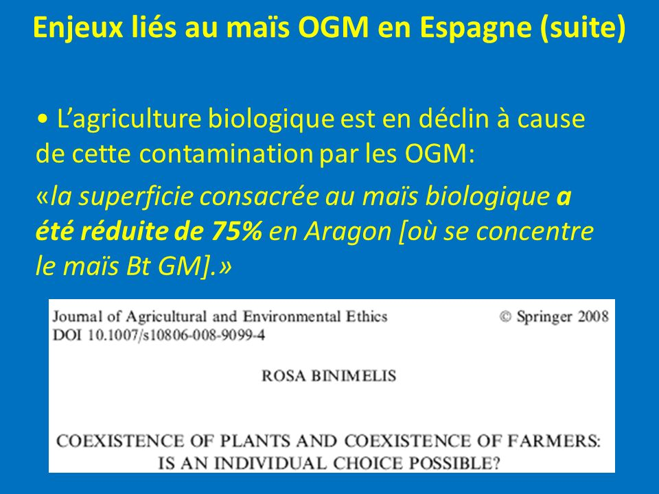 Enjeux liés au maïs OGM en Espagne (suite)