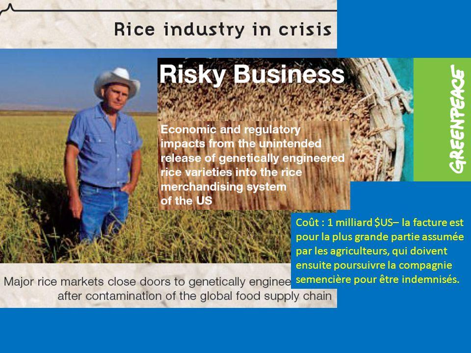 Coût : 1 milliard $US– la facture est pour la plus grande partie assumée par les agriculteurs, qui doivent ensuite poursuivre la compagnie semencière pour être indemnisés.