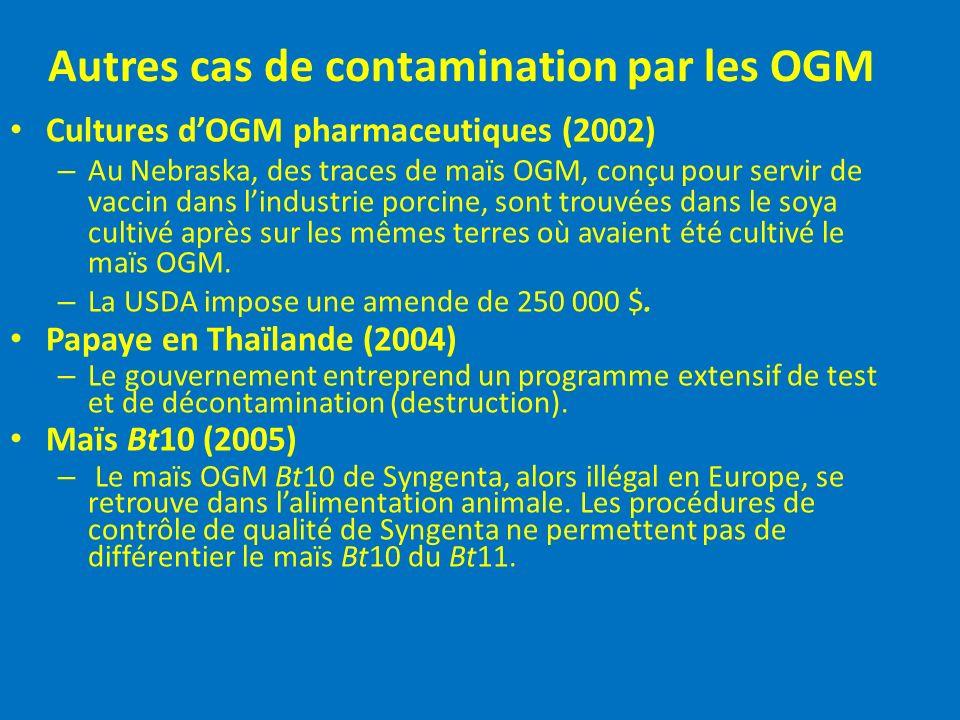 Autres cas de contamination par les OGM