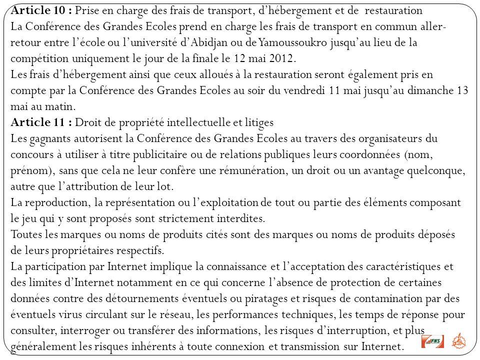 Article 10 : Prise en charge des frais de transport, d'hébergement et de restauration