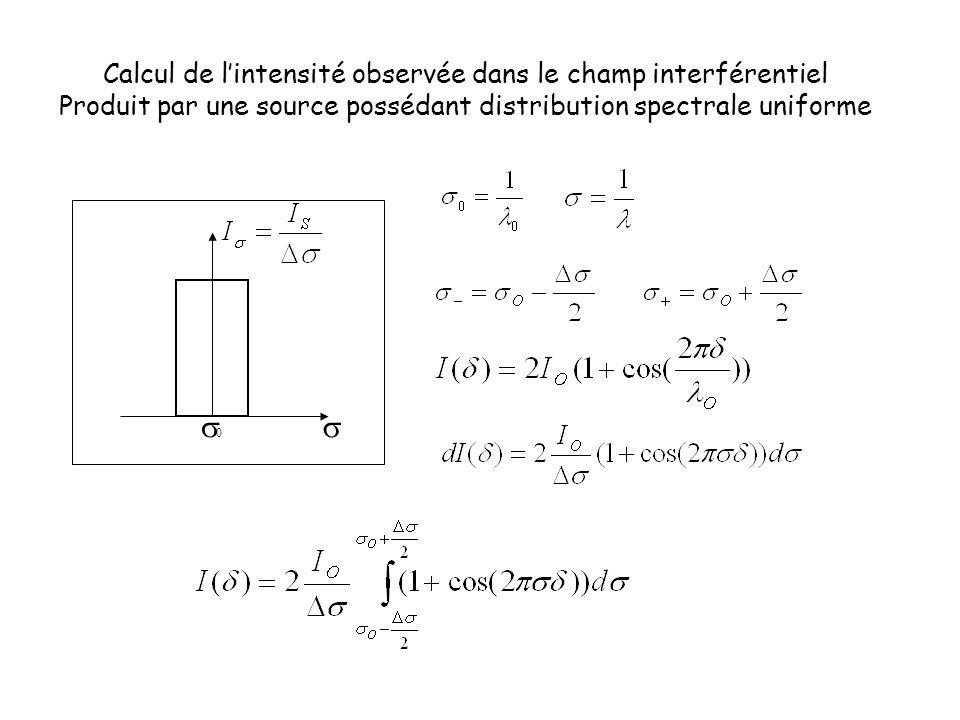 0  Calcul de l'intensité observée dans le champ interférentiel