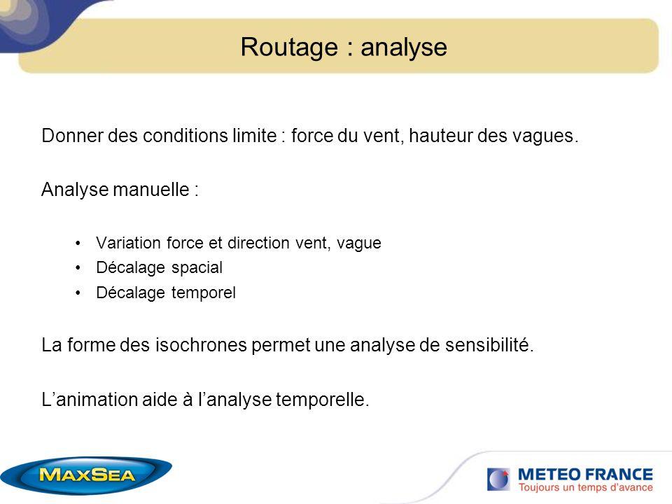 Routage : analyse Donner des conditions limite : force du vent, hauteur des vagues. Analyse manuelle :