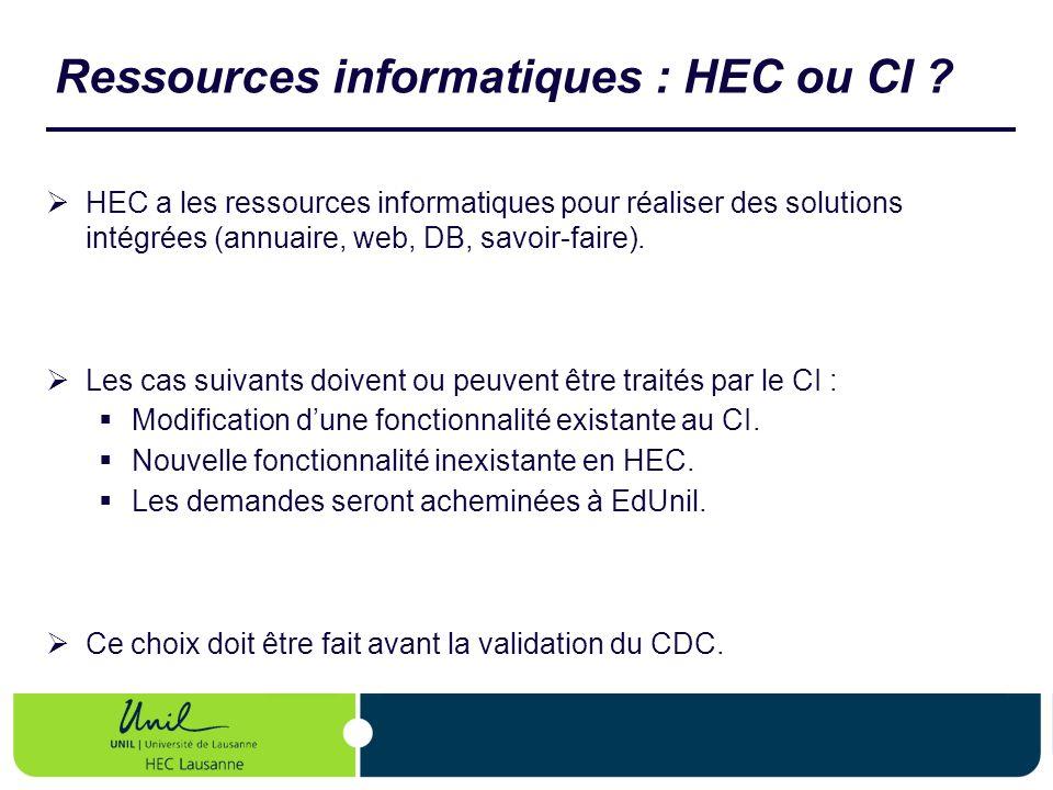 Ressources informatiques : HEC ou CI