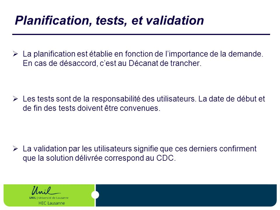 Planification, tests, et validation