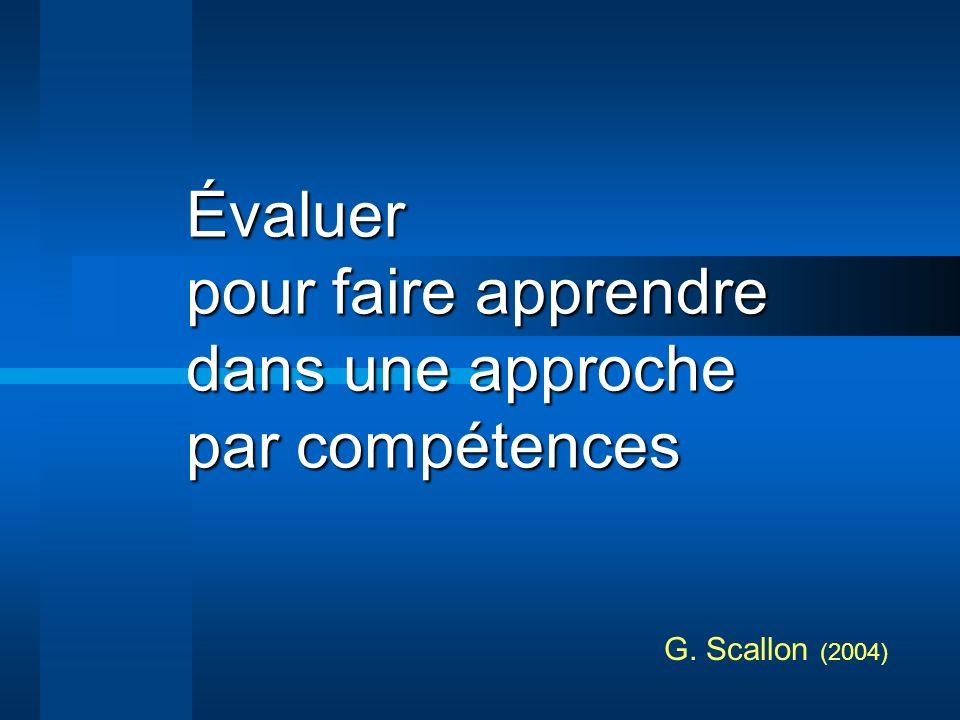 Évaluer pour faire apprendre dans une approche par compétences