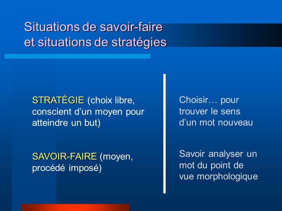 Situations de savoir-faire et situations de stratégies