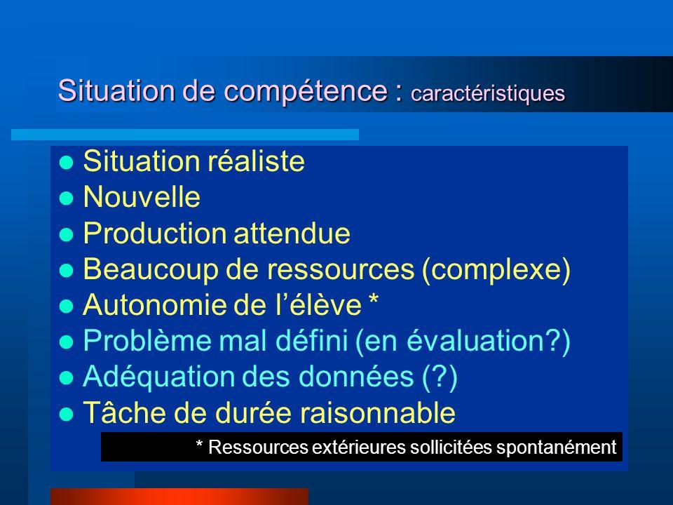 Situation de compétence : caractéristiques