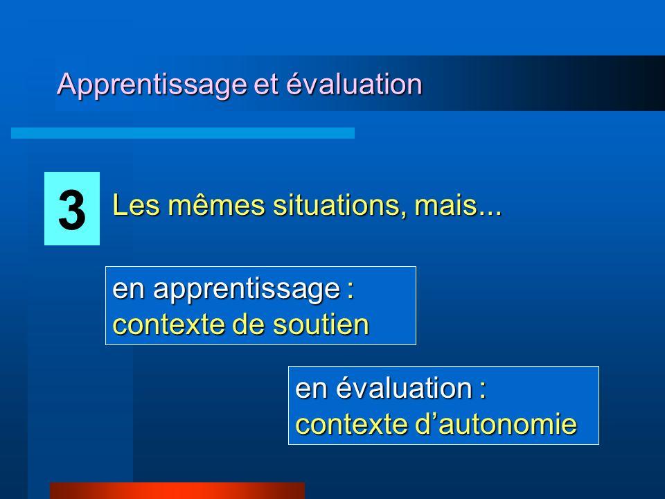 Apprentissage et évaluation