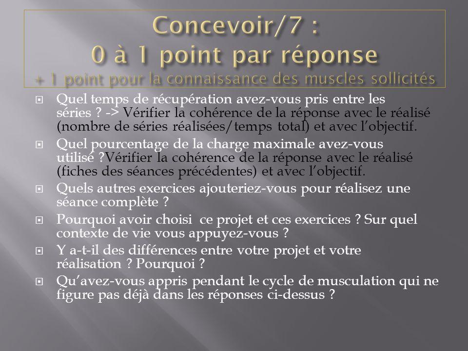 Concevoir/7 : 0 à 1 point par réponse + 1 point pour la connaissance des muscles sollicités