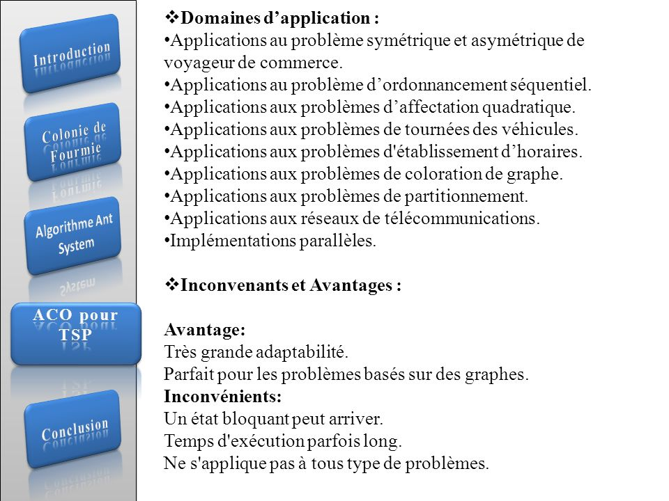 Domaines d'application :