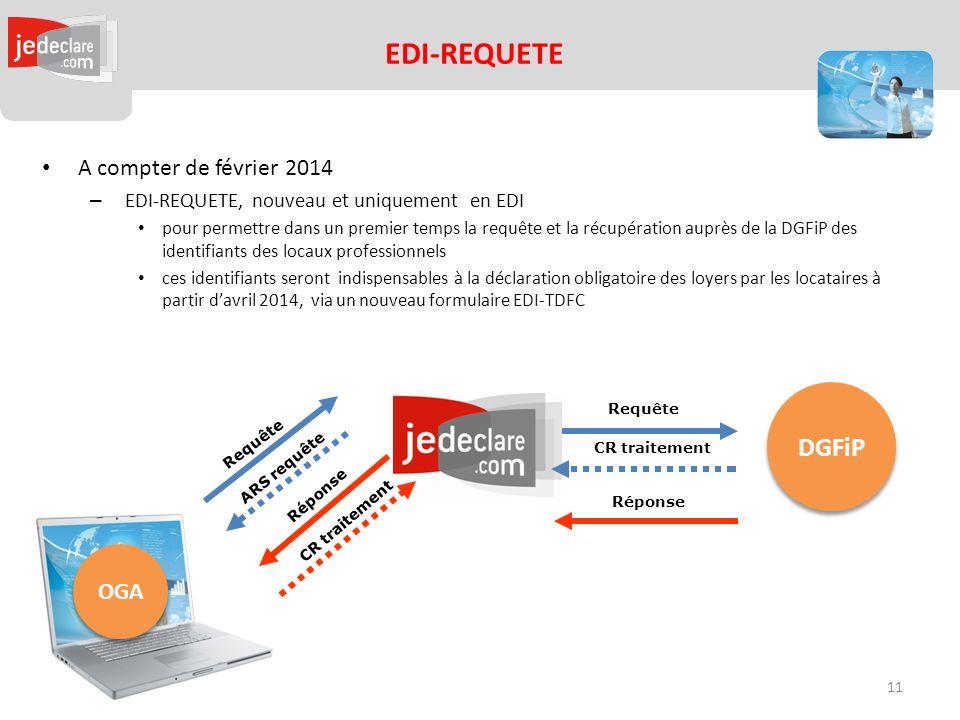EDI-REQUETE DGFiP A compter de février 2014 OGA