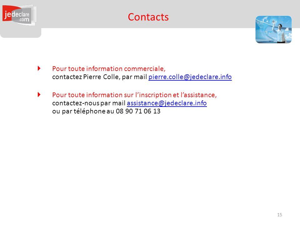 Contacts Pour toute information commerciale, contactez Pierre Colle, par mail pierre.colle@jedeclare.info.