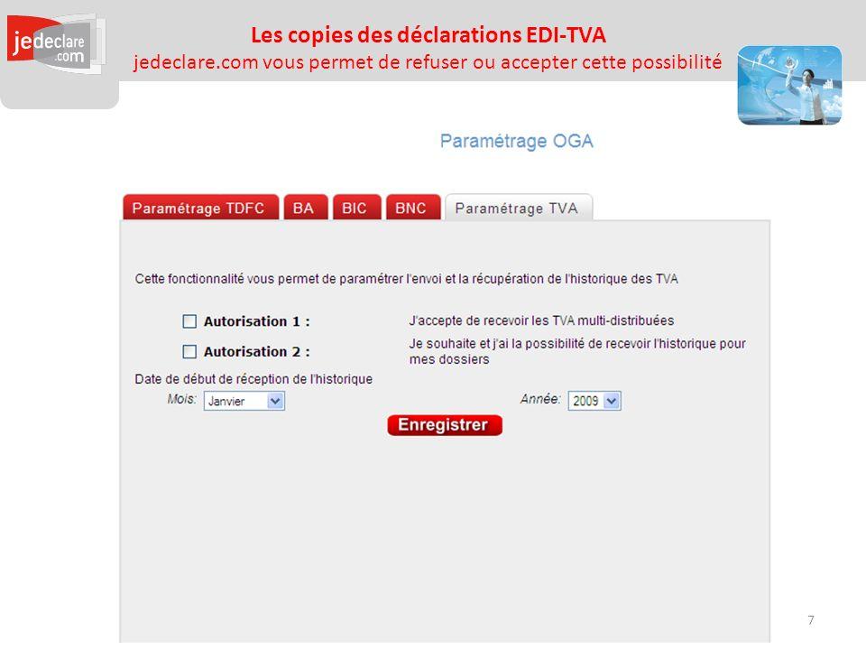 Les copies des déclarations EDI-TVA jedeclare