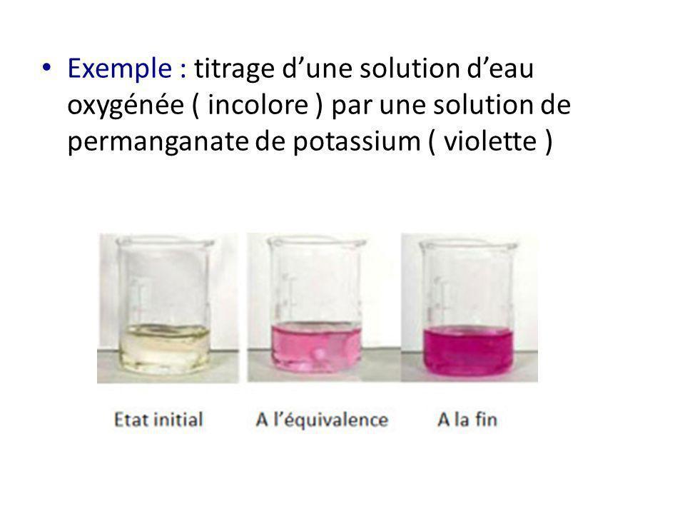 Exemple : titrage d'une solution d'eau oxygénée ( incolore ) par une solution de permanganate de potassium ( violette )