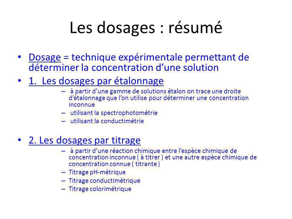 Les dosages : résumé Dosage = technique expérimentale permettant de déterminer la concentration d'une solution.