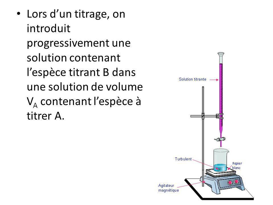 Lors d'un titrage, on introduit progressivement une solution contenant l'espèce titrant B dans une solution de volume VA contenant l'espèce à titrer A.
