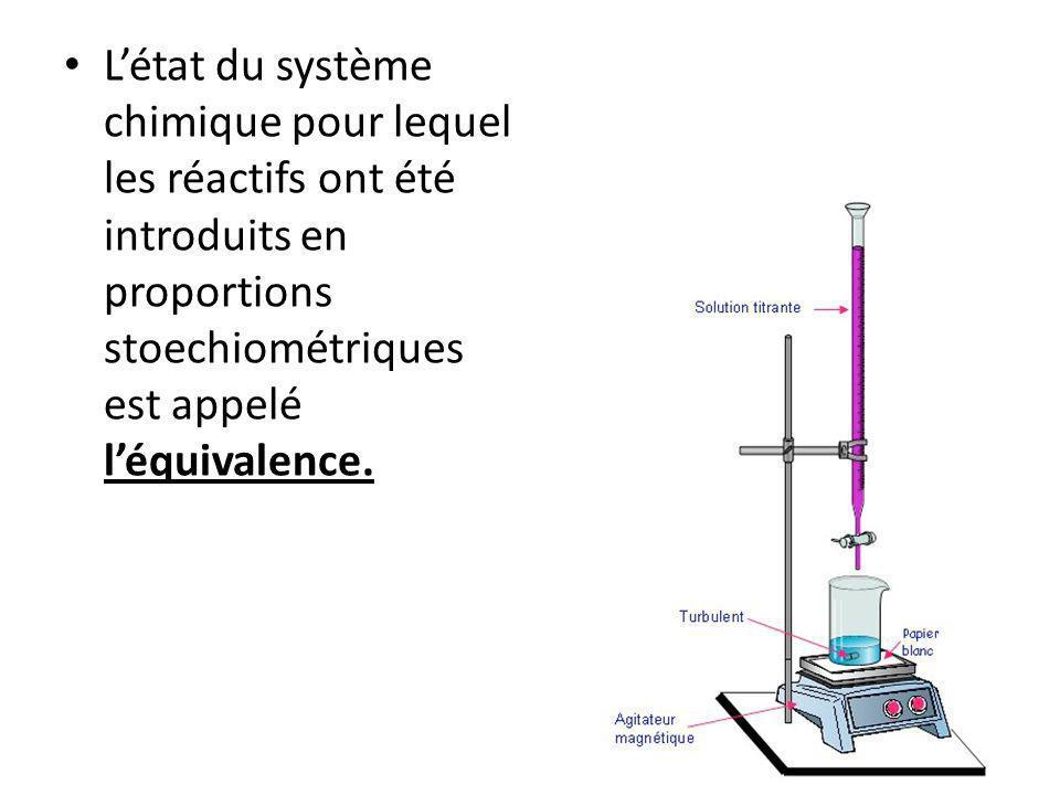 L'état du système chimique pour lequel les réactifs ont été introduits en proportions stoechiométriques est appelé l'équivalence.