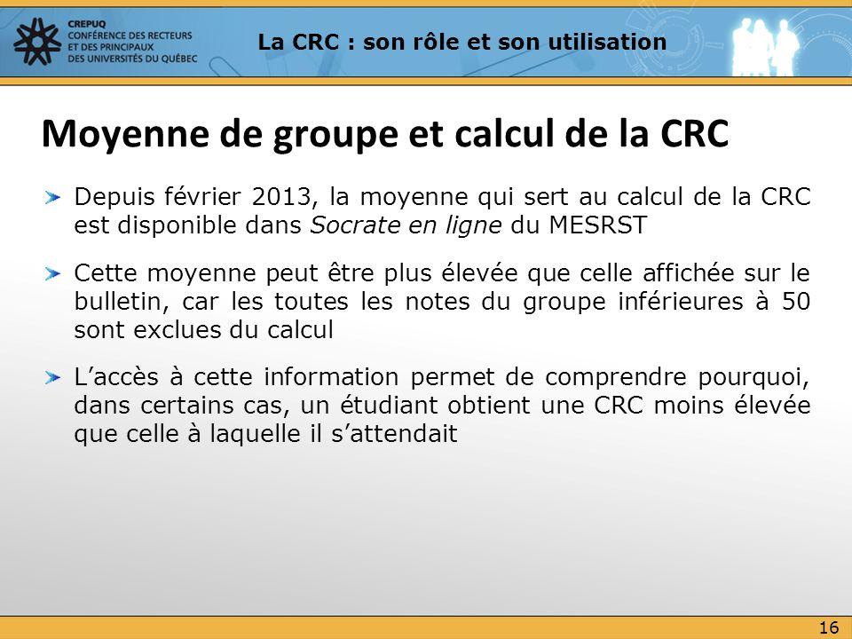 Moyenne de groupe et calcul de la CRC