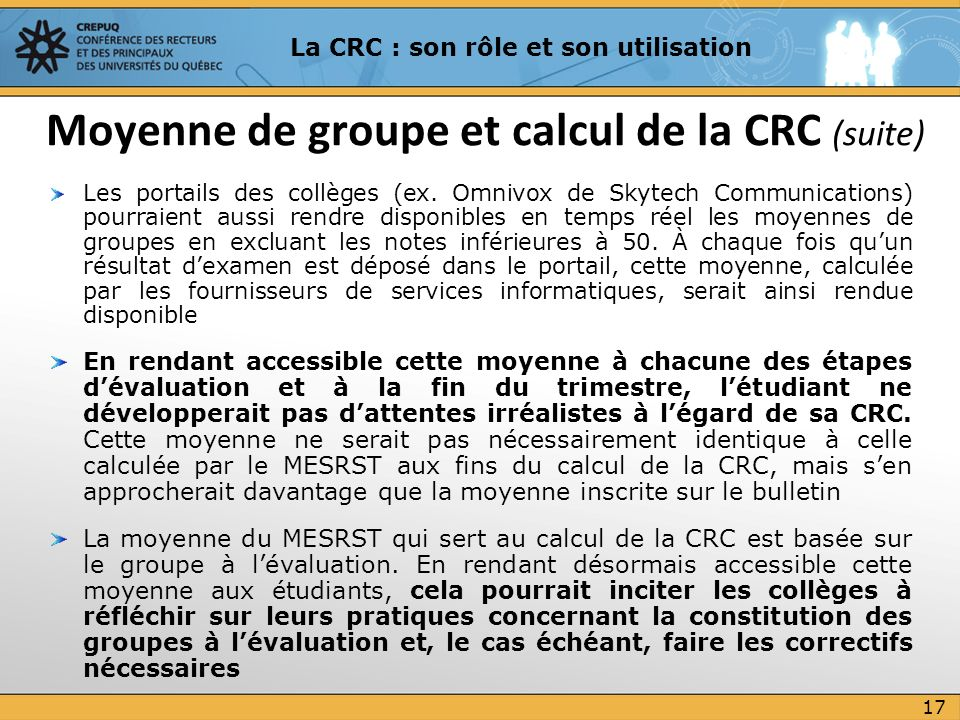 Moyenne de groupe et calcul de la CRC (suite)