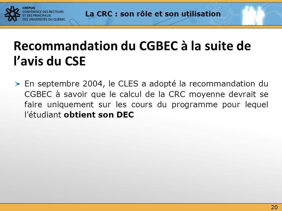Recommandation du CGBEC à la suite de l'avis du CSE