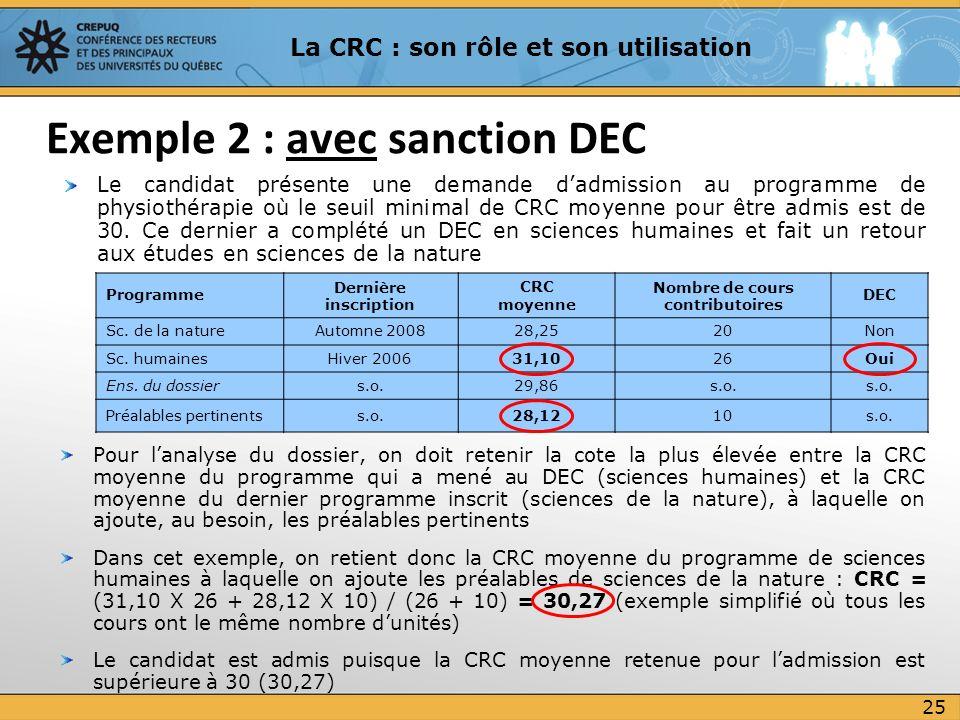 Exemple 2 : avec sanction DEC