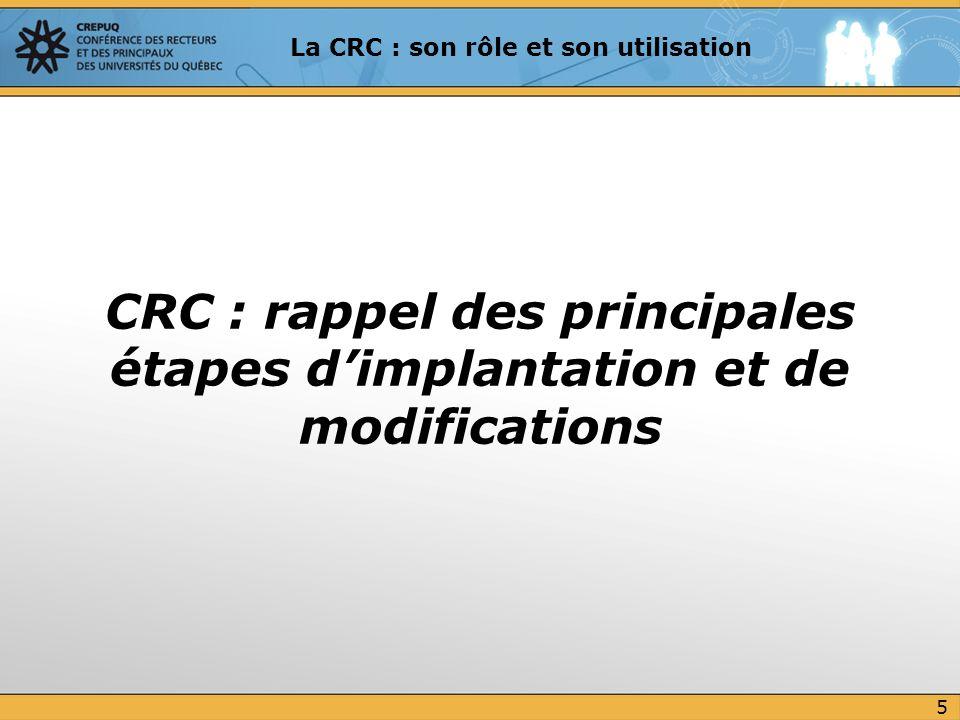 CRC : rappel des principales étapes d'implantation et de modifications