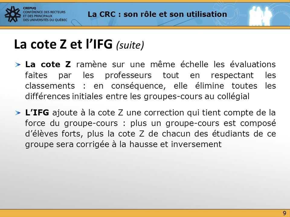 La cote Z et l'IFG (suite)