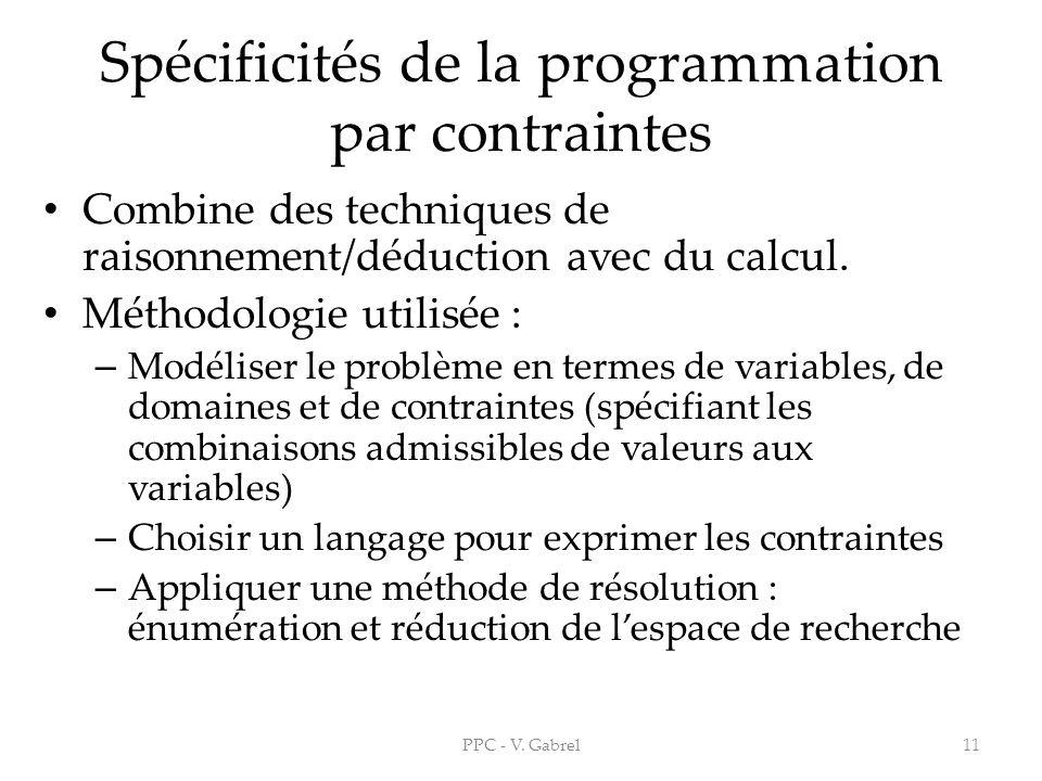 Spécificités de la programmation par contraintes
