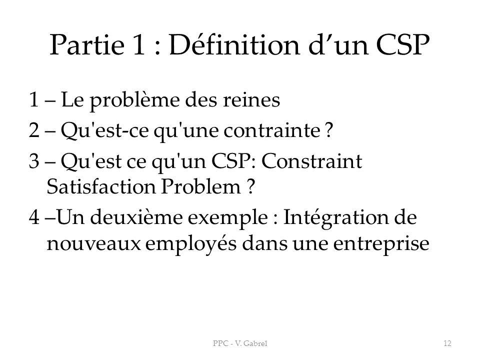 Partie 1 : Définition d'un CSP